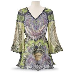 Fresh Reflection Top Soft shades of amethyst, jade, and sapphire abound in this purely romantic, sublimated sheer top. With black embroidered edges, three-quarter bell sleeves, a gathered bodice, and a scallop hem to create a fairy-tale look. 100% polyester.