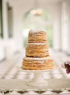 I like this idea - stacked pancakes instead of traditional wedding cake