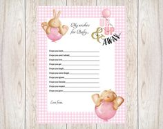 Printable....Celebrity Baby Name Bunny & Teddy Theme Game. This fantastic game will get all your guests talking! Cute Bunny & Teddy Theme in pink with gold glitter  This classic game is always a hit at baby showers.  Celebrities choose some very unusual names for their babies, can you & your guests decide which baby name belongs to which Celebrities baby?  This listing includes ................................... 2 x pdf files 1x A4 question sheet that has 2x A5 size prints on it. (Print As…