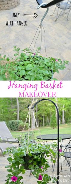 Hanging Basket's come in a handy ready to go basket but the metal hanger is not so pretty.  Change it up by replacing with rope.