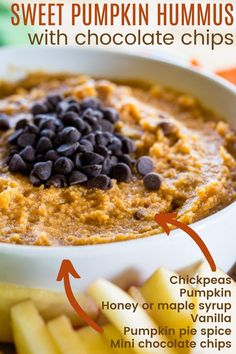 Chocolate Chip Pumpkin Hummus - a healthy dessert dip recipe that tastes like pumpkin spice cookie dough. A perfect fall snack that you can make in minutes with only 6 ingredients! Gluten free with a vegan option. Easy Snacks For Kids, Fall Snacks, Chocolate Chip Cupcakes, Chocolate Pies, Pumpkin Hummus, Dessert Dips, Pumpkin Pie Spice, Dip Recipes, A Food