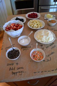 toppings for waffle bar (i like whipped cream, chocolate and caramel sauce, fruit option, PB)
