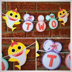 Two Girl baby shark birthday banner - bubbles banner - Two baby shark party - bubbles birthday - pop - Shark Baby - girl pink shark Bubble Birthday, Baby Birthday Cakes, 6th Birthday Parties, 2nd Birthday, Mermaid Birthday, Birthday Ideas, Pink Shark, Baby Shark, Birthday Packages