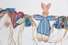 Wall Hanging Bunny Heart Garland Blue Pink Hand Painted Wood Spring