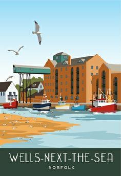 Art poster of Cromer Pier, North Norfolk Coast Posters Uk, Railway Posters, Design Posters, Poster Prints, Norfolk Coast, Norfolk England, Great Places, Places To Go, Wells Next The Sea
