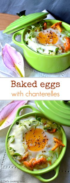Easy Baked Eggs with Chanterelles & Thyme | Del's cooking twist