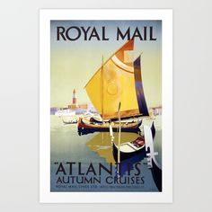 A vintage travel poster collection.