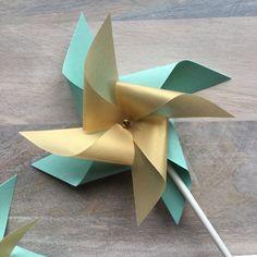 Mint and Gold Pinwheel Cake Picks / Pinwheel by PicktheCake