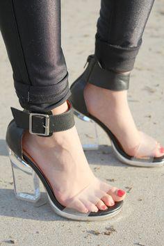 perspex heel  clear straps