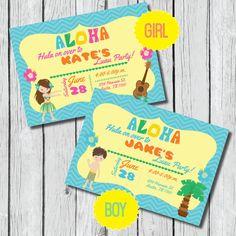 Luau Party Invitation - DIY Printable, Boy or Girl Hawaiin, Chevron, Palm Tree, Flower, Aloha