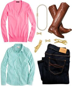 Fresh Bright Shirt + Pink Pullover Sweater + Jeans + Brown Boots + Gold Jewelry
