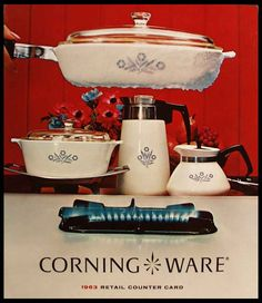 Corningware blue cornflower - my play kitchen dishes looked like this, right down to the detachable handle!