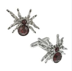 Lucky Spider Cufflinks Silver Tone Red Crystal by PerfectCufflinks.