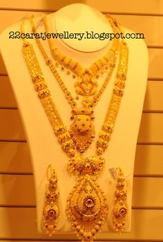 Kalyan Jewellers Gold Plain and Antique Bridal Necklace Sets Gallery - Jewellery Designs Gold Haram Designs, Vaddanam Designs, Gold Designs, Boutiques, Bridal Necklace Set, Bride Necklace, Indian Wedding Jewelry, Bridal Jewelry, Clean Gold Jewelry