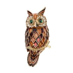 1940s Enamels Owl Brooch | From a unique collection of vintage brooches at https://www.1stdibs.com/jewelry/brooches/brooches/