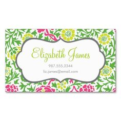 Green and Pink Retro Floral Damask Business Card Templates