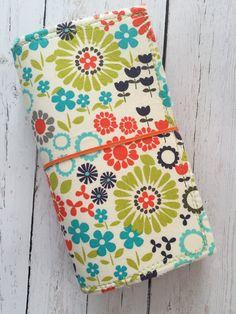 Fabric Fauxdori Notebook Cover Retro Flower Blossoms | Midori Travelers Notebook