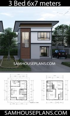 Plan Maison House Plans Idea with 3 Bedrooms - Sam House Plans Selecting the Perfect Area Rug Th Mini House Plans, Small Modern House Plans, A Frame House Plans, Model House Plan, Beach House Plans, House Layout Plans, Family House Plans, Dream House Plans, House Layouts