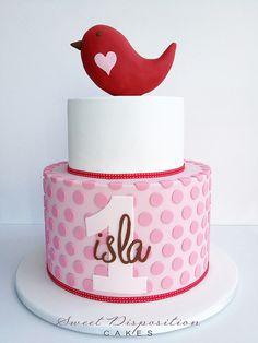 Bird heart girl cake.