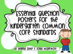 Essential Question Posters for Kindergarten Common Core