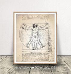 Vitruvian Man Da Vinci Print Human Anatomy DOWNLOAD