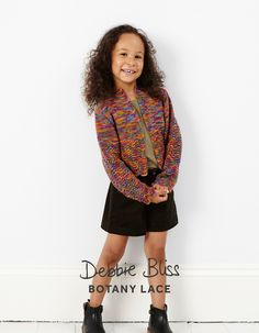 Girl's pretty cropped lace cardigan in Debbie Bliss Botany Lace with four dual size options ranging from 5-6 to 11-12 years. Pattern No: 128