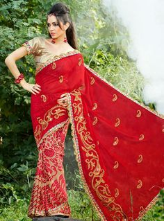 USD 62.37 Red Faux Georgette Embroidery Party Wear Saree 27839