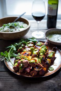 Grilled Chilean Beef Skewers with Smoky Chimichurri Sauce and Cilantro ...