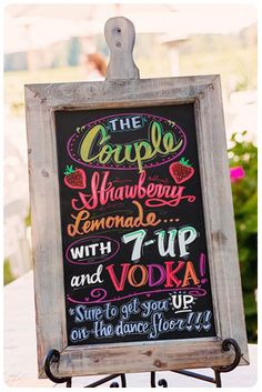 Check out this year's hottest trend for weddings and events: chalkboard signs! Fun, funky, personal, and super cute! Rustic Wedding Signs, Chalkboard Wedding, Wedding Signage, Chalkboard Signs, Our Wedding, Blackboard Menu, Chalkboard Drawings, Chalkboard Ideas, Wedding Reception