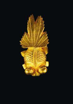 """LINE VAUTRIN Broche """"Poisson"""" Années 1950 Bronze doré Signée H_6,2 cm"""