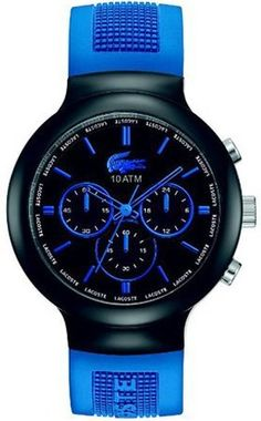 Lacoste 2010654 Blue Silicone Black Chronograph Men's Watch Lacoste. $180.99