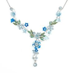 Glamorousky Blue Flower and Tiny Butterfly Necklace with Blue Swarovski Element Crystals - 40cm   9cm extension chain (975) Add it to your wishlist at yourwishfromme.com