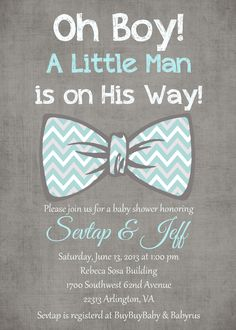 Oh Boy Little man Light Tiffany blue gray white bow tie baby boy chevron  printable baby shower invitation PDF FILE. $18.50, via Etsy.