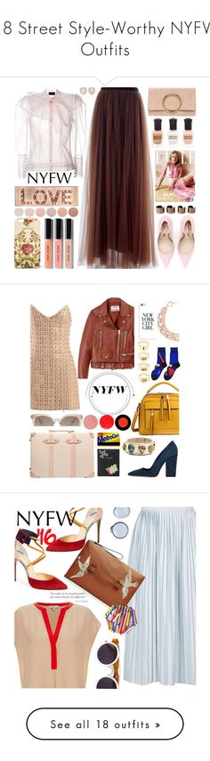 """""""18 Street Style-Worthy NYFW Outfits"""" by polyvore-editorial ❤ liked on Polyvore featuring NYFW, waystowear, Simone Rocha, Marni, Sophia Webster, Deborah Lippmann, Maison Margiela, Gucci, Bobbi Brown Cosmetics and Monica Vinader"""