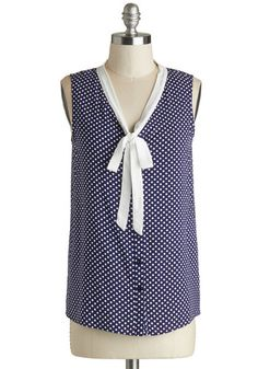Mentor in the Making Top - Blue, White, Polka Dots, Buttons, Work, Sleeveless, Mid-length, Woven, Tie Neck, Nautical, Vintage Inspired