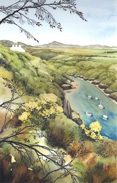 Watercolour print of Welsh coast. 6 x 11. by DaffodilStudio