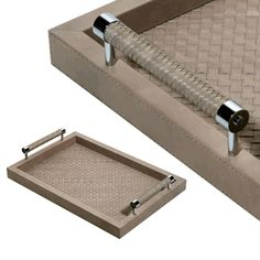 "Limited Production Design: Luxury Designer 24"" Long Taupe High Gloss Woven Leather Tray * Click Image For Full Screen View"