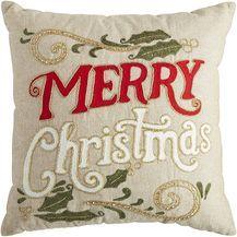 Beaded Merry Christmas Pillow