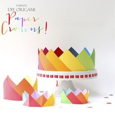 Easy Birthday Origami 10 Ideas For Origami Greeting Cards. Easy Birthday Origami How To Make A Simple Pop. Diy Origami, Origami Crown, Origami Simple, Origami Paper, Diy Paper, Oragami, Diy Birthday Crown, Harry Birthday, It's Your Birthday