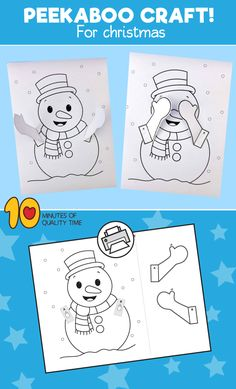 Snowman Peekaboo Craft Snowman Peekaboo Craft B&W printable [avia_codeblock_placeholder uid= Winter Activities For Kids, Winter Crafts For Kids, Winter Kids, Christmas Activities, Winter Christmas, Art For Kids, Snowman Cards For Kids, Kids Cards, Easy Arts And Crafts