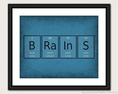 Periodic Table Word Poster  Brains  Wall Art by GetYourNerdOn, $20.00