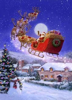 Merry Christmas Gif, Christmas Scenery, Christmas Artwork, Christmas Paintings, Vintage Christmas Cards, Christmas Love, Retro Christmas, Christmas Wallpaper, Christmas Pictures