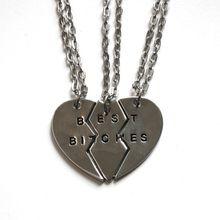 Silver Best Bitches Friendship Necklaces ( 3 Pieces )
