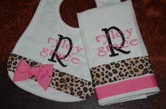 Personalized Bib and Burp cloth set BOY GIRL  Lots of Styles and Colors. $20.00, via Etsy.