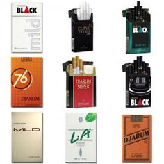 This Djarum assorted cigarettes package contains:  1 Pack of Djarum Black Mild 1 Pack of Clavo Premio 1 Pack of Djarum Black Menthol 1 Pack of Djarum 76 Kretek 1 Pack of Djarum Super 16′s 1 Pack of Djarum Black 1 Pack of Djarum Super Mild 20′s 1 Pack of L.A. Menthol Lights 1 Pack of Djarum Coklat