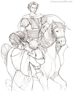 Athenais (head-canon name for Ancient Greece) and little Herakles with Alexander the Great riding on Bucephalus -  Art by ctcsherry.tumblr.com