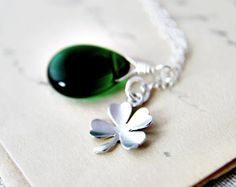 Lucky Shamrock Necklace Silver Clover Charm Emerald Grass Green Wire Wrap Czech Glass St. Patrick Fashion