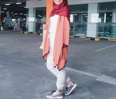 Red orange hijab ootd