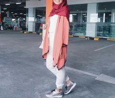 Red orange hijab ootd