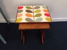 Retro G Plan nest of tables with Orla Kiely multi stem wallpaper. Upcycled by UpVamped Retro Furniture, Painted Furniture, Orla Kiely, Modern Retro, Easy Projects, Paint Ideas, Nest, Basement, 1950s